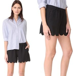 Madewell Black Scalloped Pull On Shorts M